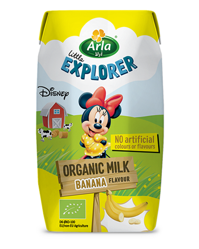 Banana flavoured organic milk
